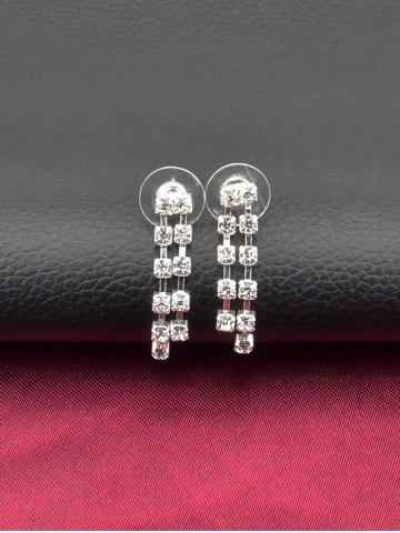 Best Rhinestone Hollow Out Necklace and Earrings - SILVER  Mobile
