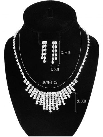 Shops Rhinestone Hollow Out Necklace and Earrings - SILVER  Mobile