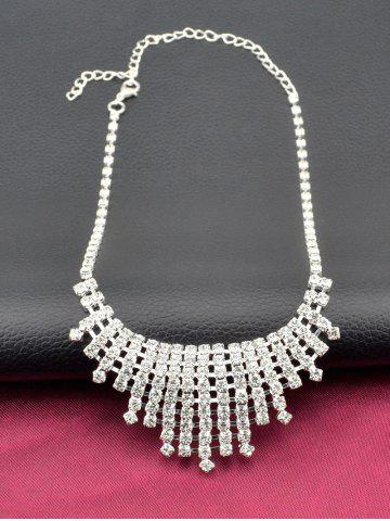 Fancy Rhinestone Hollow Out Necklace and Earrings - SILVER  Mobile