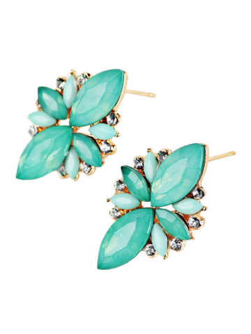 Fashion Candy Color Faux Gems Embellished Earrings AZURE