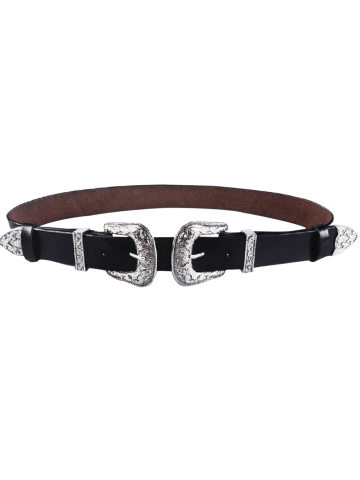 Faux Leather Belt with Cameo 2 Double Buckle - Black - 38