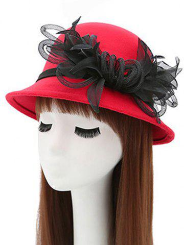 Buy Mesh Yarn Flower Faux Wool Fedora Hat