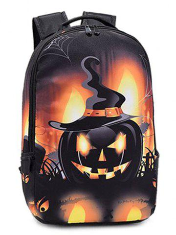 Discount Pumpkin Printed Colour Spliced Halloween Backpack