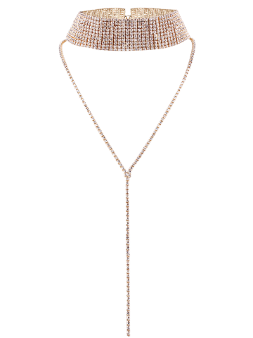 Hot Long Rhinestoned Wide Choker Necklace CHAMPAGNE