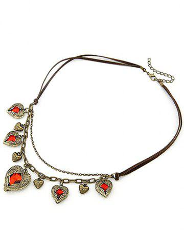 Trendy Chic Faux Ruby Heart Shape Retro Style Necklace COFFEE