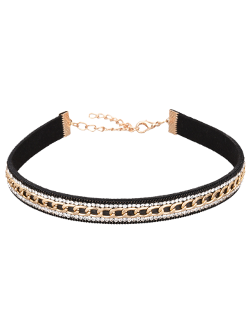Online Artificial Leather Rhinestone Chain Choker Necklace