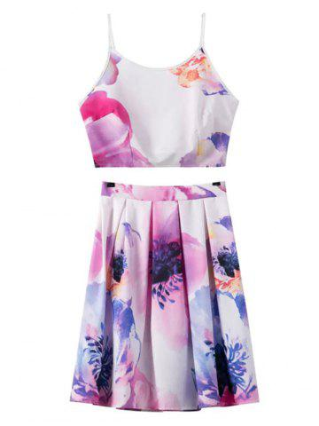 Outfit Stylish Floral Print Cami Crop Top and A-Line Skirt Women's Suit