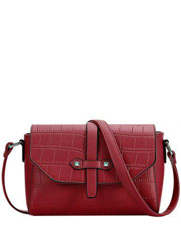 Online Trendy Crocodile Pattern and PU Leather Design Crossbody Bag For Women - RED  Mobile