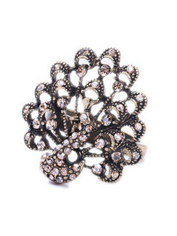 Unique Chic Rhinestone Peacock Shape Ring For Women - CHAMPAGNE  Mobile