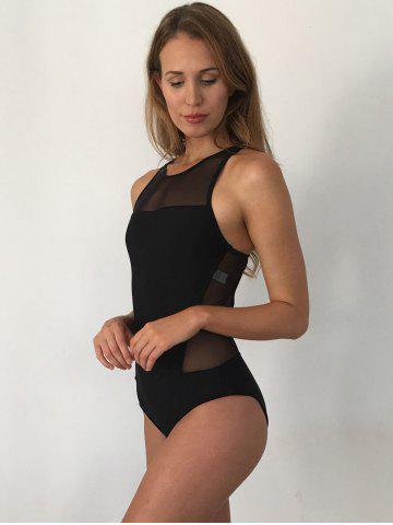 Store Mesh Panel High Neck Backless Swimsuit - L BLACK Mobile