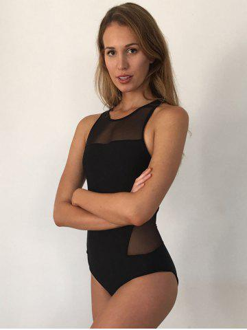 Fancy Mesh Panel High Neck Backless Swimsuit - L BLACK Mobile