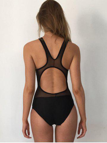 Buy Mesh Panel High Neck Backless Swimsuit - L BLACK Mobile