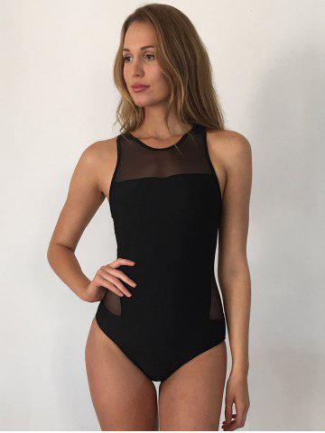 Outfit Mesh Panel High Neck Backless Swimsuit - M BLACK Mobile
