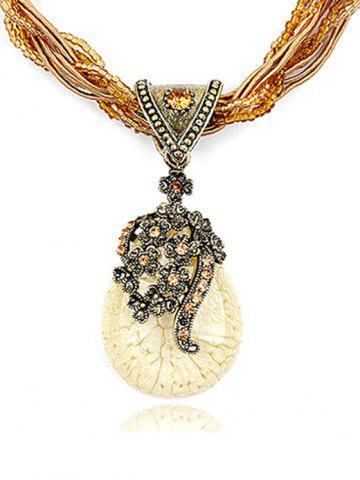 Outfits Bohemia Faux Crystal Water Drop Flower Pendant Necklace