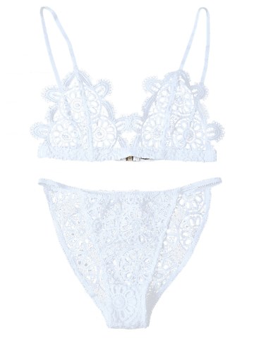 Online Unlined Crocheted Bra No Padding and Panty - L WHITE Mobile