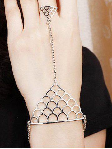 New Hollow Out Fish Scales Shape Bracelet With Ring SILVER ONE-SIZE