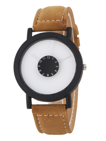 Discount Faux Leather Band Analog Quartz Watch BROWN