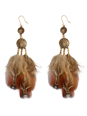 Discount Rhinestone Feather Floral Bohemian Drop Earrings