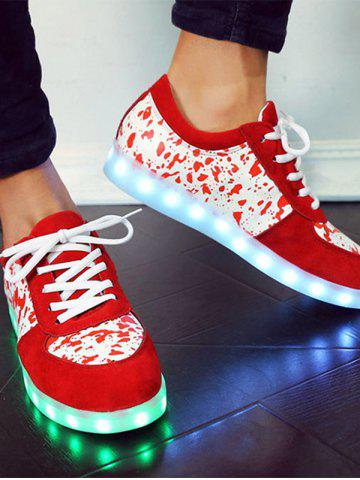 Shops Trendy Lighted and Print Design Sneakers For Women - 39 RED Mobile