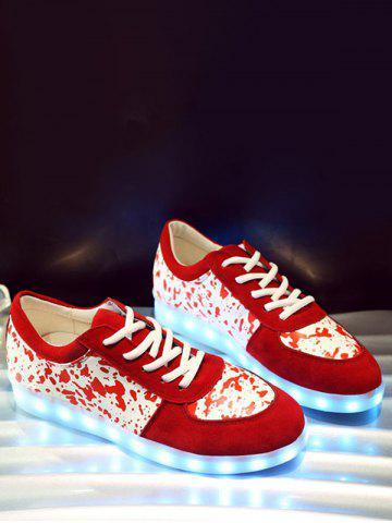 Chic Trendy Lighted and Print Design Sneakers For Women - 39 RED Mobile