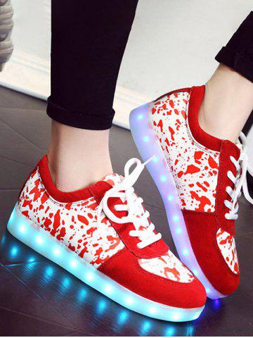 Fashion Trendy Lighted and Print Design Sneakers For Women RED 39