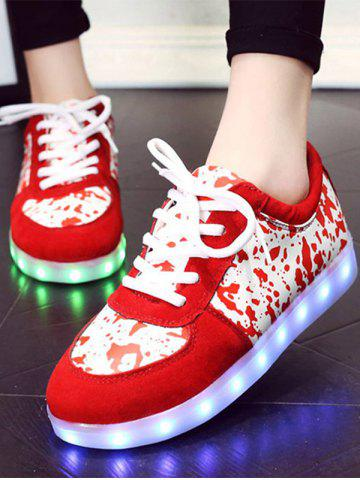 Outfit Trendy Lighted and Print Design Sneakers For Women - 39 RED Mobile