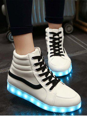 Best Stylish Led Luminous and High Top Design Sneakers For Women WHITE 39