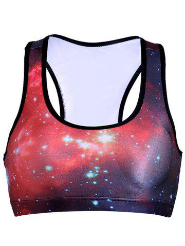 Cheap U-Neck Racer Back Star Print Women's Sports Bra