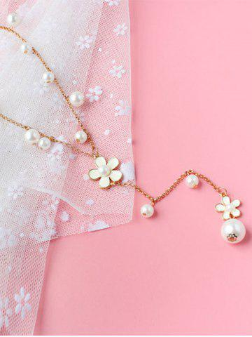 Outfits Artificial Pearl Floral Beaded Sweater Chain - WHITE  Mobile