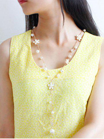 Best Artificial Pearl Floral Beaded Sweater Chain - WHITE  Mobile