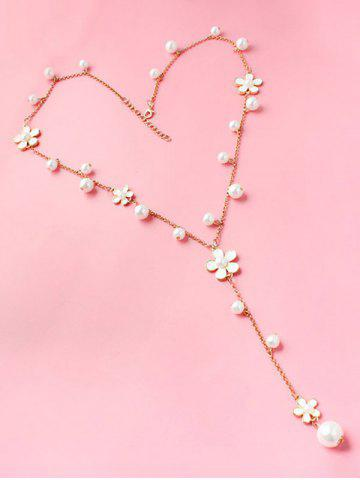 Latest Artificial Pearl Floral Beaded Sweater Chain - WHITE  Mobile