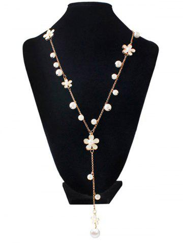 Unique Artificial Pearl Floral Beaded Sweater Chain - WHITE  Mobile
