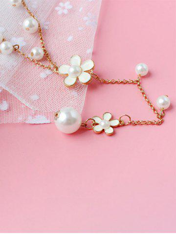 Fancy Artificial Pearl Floral Beaded Sweater Chain - WHITE  Mobile