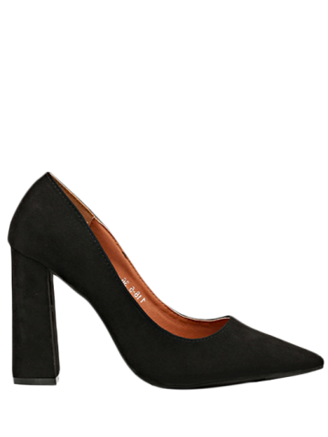 Discount Chunky Heel Suede Pointed Toe Pumps