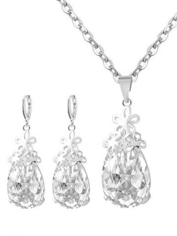 Fancy Floral Water Drop Wedding Jewelry Set - SILVER  Mobile