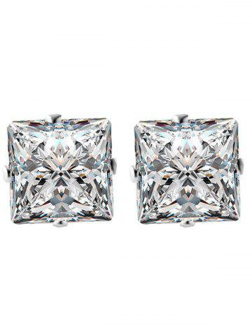 Affordable Rhinestone Square Wedding Jewelry Set - SILVER  Mobile