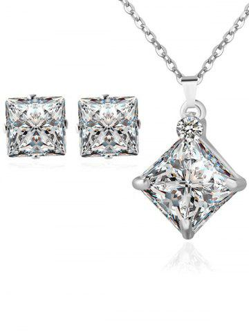 Shops Rhinestone Square Wedding Jewelry Set SILVER