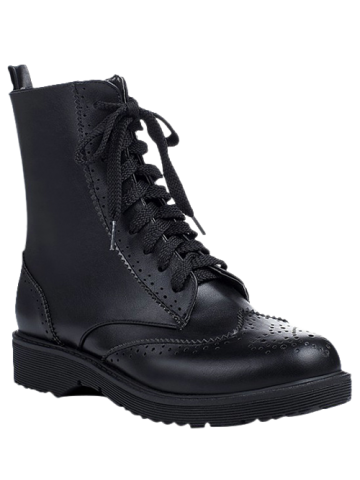 Casual Tie Up and Engraving Design Short Boots For Women - Black - 38