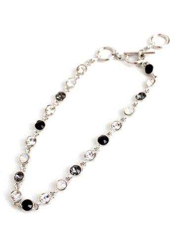 Sale Chic Rhinestone Decorated Gemstone Anklets - SILVER  Mobile