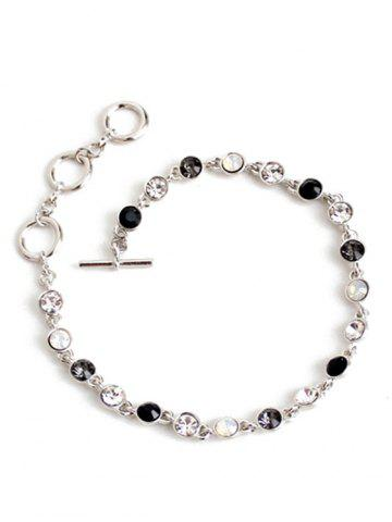 Cheap Chic Rhinestone Decorated Gemstone Anklets - SILVER  Mobile