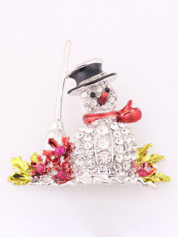 Outfit Christmas Snowman Brooch - WHITE  Mobile