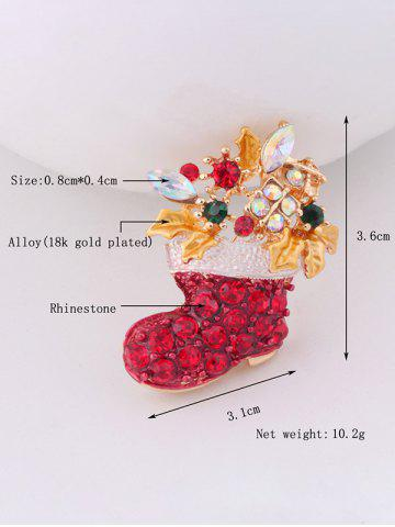 Fancy Christmas Boots Brooch - RED  Mobile