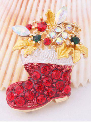 Outfit Christmas Boots Brooch - RED  Mobile