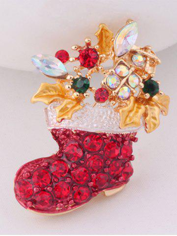Online Christmas Boots Brooch - RED  Mobile