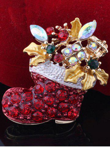 Trendy Christmas Boots Brooch - RED  Mobile