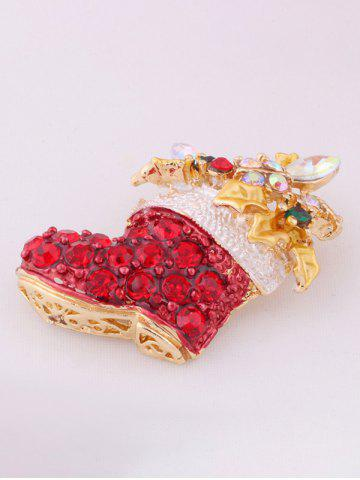 Discount Christmas Boots Brooch - RED  Mobile