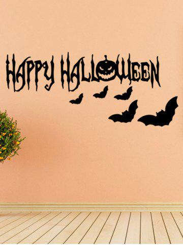 Online Room Decoration Wordart Happy Halloween Bat Design Vinyl Wall Sticker