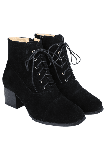 Outfits Square Toe Suede Chunky Heel Boots - 39 BLACK Mobile