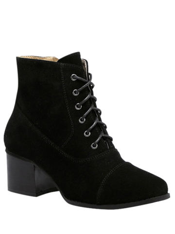 New Square Toe Suede Chunky Heel Boots - 38 BLACK Mobile