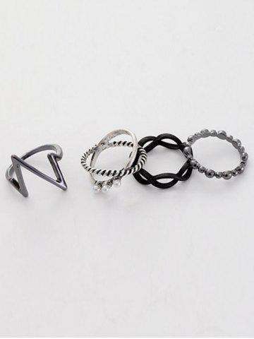 New A Suit of Alloy Lighting Rings - ONE-SIZE SILVER Mobile